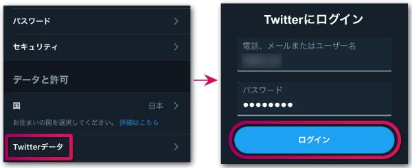 Twitterデータをタップパスワードを再入力する