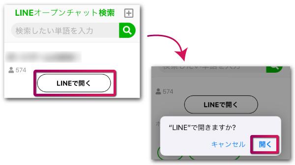 トークルームを詳細表示したらLINEで開くをタップ
